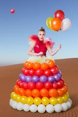 Beautiful woman in balloon dress