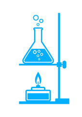Blue laboratory equipment on white background