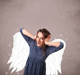 Cute girl with angel illustrated wings