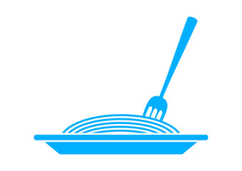 Blue spaghetti icon on white background