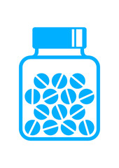 Vial of medicine on white background