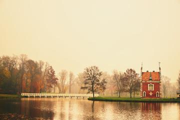 Chapel in autumn park