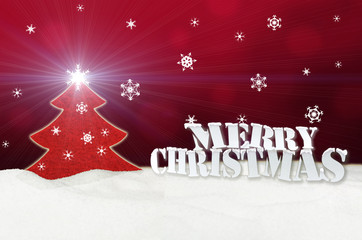 Christmas background - Christmas Tree red - Snow - Merry Christm