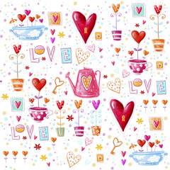 Love background made of red hearts, flowers.