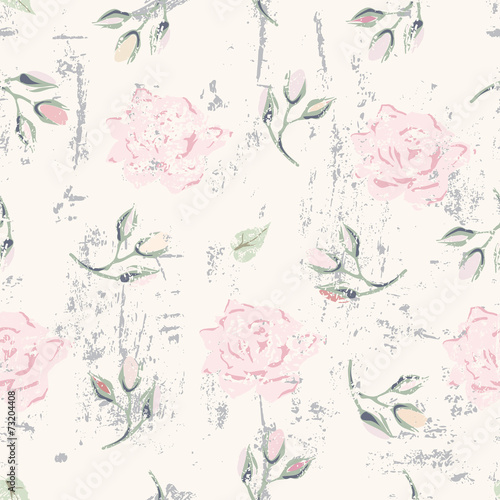 grungy floral seamless pattern - 73204408