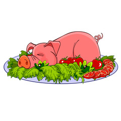 cartoon pig on a plate with vegetables