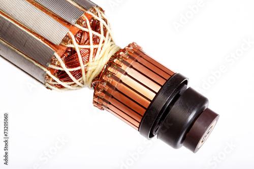 Leinwanddruck Bild Electric motor rotor isolated white background