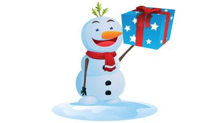 Snowman bring gift