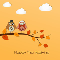 Happy Thanksgiving background with owls