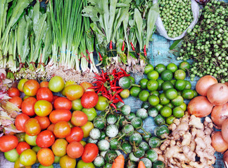 Various fresh vegetables in Asian traditional street market. Hea