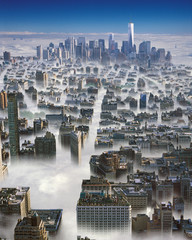 Manhattan in a clouds.