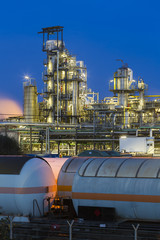 Oil Refinery And Trains At Night