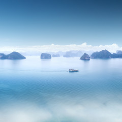 Blue water and sky aerial view panorama of Halong Bay in Vietnam