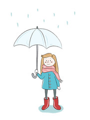 Girl in the rain with umbrella