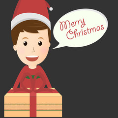 Vector of merry christmas boy with gift box