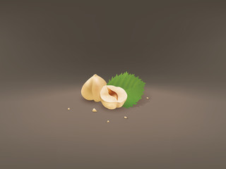 Nuts with leaf.