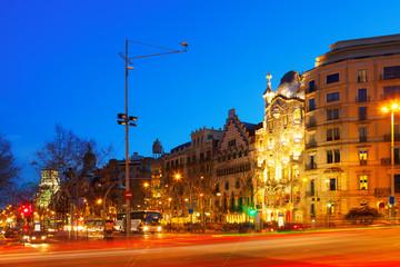 Night view of Passeig de Gracia in   Barcelona