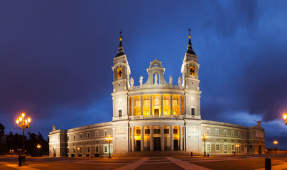 Panorama of Almudena cathedral at Madrid