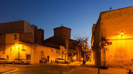Evening street of Sant Adria de Besos