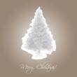 Weihnachtskarte Kristall Tannenbaum weiß braun