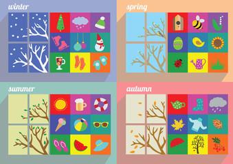 Four seasons symbol vector illustration