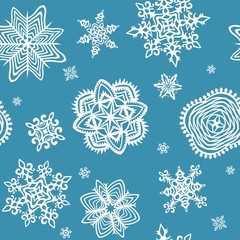 Wallpaper with paper snowflakes