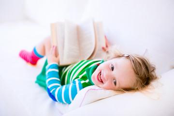 Sweet litte girl reading