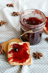 Crackers for Breakfast with jam of four berries