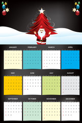 new year calendar with santa claus