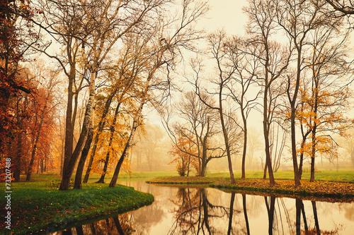 Zdjęcia na płótnie, fototapety na wymiar, obrazy na ścianę : Autumn lake in the park