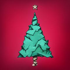 Weihnachtsbaum aus zerknittertem Papier