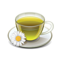 Green tea cup with chamomile isolated