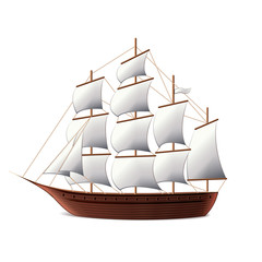 Sail ship isolated on white vector
