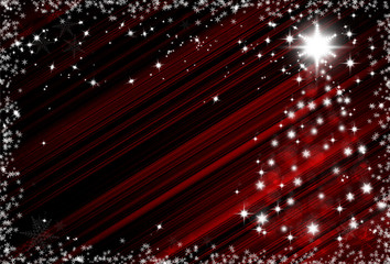 Christmas red background with snowflakes frame and Christmas tre