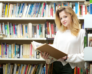 young student at library