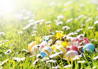 Ostereier auf Frühlingswiese