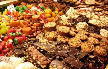 bakery storefront: arranged chocolate and marzipan pastry