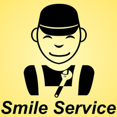 Smile service flat sign yellow background