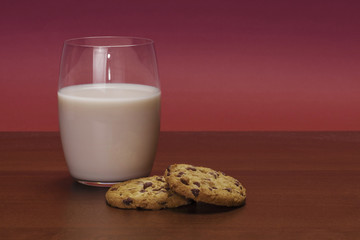 Christmas composition with milk and cookies