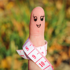 Finger art of a girl with meter.