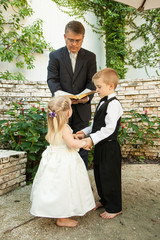 Boy and girl getting married