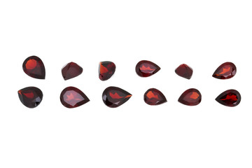 Red garnet isolated on white background