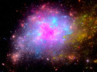 Multicolored nebula in deep space