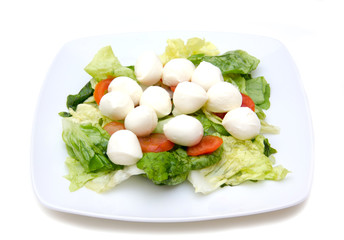 Salad with tomatoes and mozzarella on a white background
