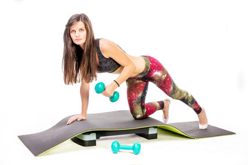 Workout with dumbbell