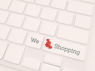 We love shopping concept, 3d render