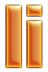 Collection of orange letter I on a white background