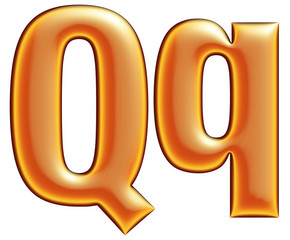 Collection of orange letter Q on a white background
