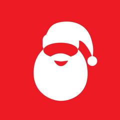 santa claus hat beard flat icon design vector