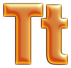Collection of orange letter T on a white background